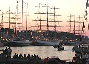 sunset during Tall Ships race 2004 in Stavanger