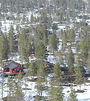 cottages near Hovden at end of ski season
