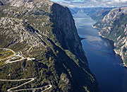 View of Lysefjord and Kjerag and the road down to Lysebotn