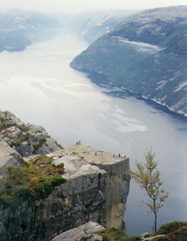 looking down on the people standing on pulpit rock, and further east along lysefjord