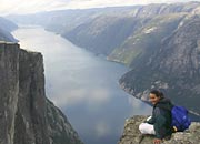1000m vertical drop - view down Lysefjord from Nesatind