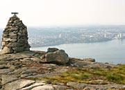 Lifjell summit cairn and Stavanger beyond