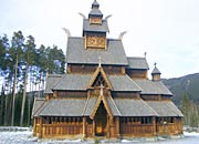 main front view of Gol stave church replica